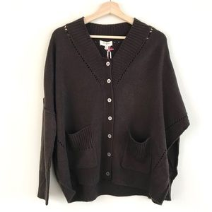 Umgee Brown Button Up Oversized Cardigan